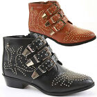 Ladies Retro Low Heel Shoes Biker Short Booties Mid Winter Ankle Boots Size