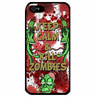Cover for Iphone 4 4S Keep Calm & kill zombies funny cartoon phrase Phone case
