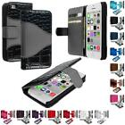 For iPhone 5C Leather Wallet Pouch Skin Case Credit Card ID Holder Accessory