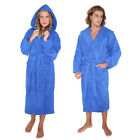 ARUS Womens Mens High Grade Turkish Terry Cotton Thick Hooded Bathrobe BLUE