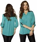 SML ROLL Sleeve Contrast Collar Color Block Chiffon Loose Fit Shirts Top Blouse