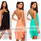Size S-XL Womens Chiffon Backless Beach Party Evening Dress Clubwear Dresses
