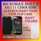 LEATHER DIARY FOLIO FLIP FLAP CASE for MICROMAX DUET 2 EG111 CDMA GSM FULL COVER