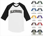 Blackhawks College Letter Team Name Raglan Baseball Jersey T-shirt