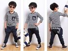 Cool Kids Boy Baby Girls Stripe Navy Style T-Shirt+Harem Pants Sets Unisex Suits