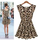 Summer Female Sexy Leopard Swing Mini Dress Crewneck Tunic Skater Party Dress