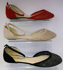 Ladies Red/Black/Nude Anne Michelle Flat Shoes UK3-8  L4952