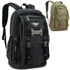 Men women's Canvas backpack Rucksack laptop Hiking sport travel Camping bag