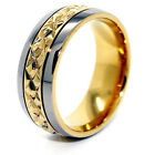 7mm 18K Gold Plated Middle Facet Titanium Wedding Band Sizes 4-16