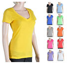 Women's Semi-Sheer Henley Scoop Frayed Edge V-Neck Slub T-Shirt -Tee Shirt 14381