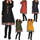 Loose Chiffon Floral Trim Tunic Mini Ladies Dress Winter Womens Dresses Sz 6 4 2