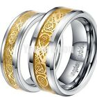 NEW Tungsten Carbide Celtic Mens Womens Couple Wedding Band Ring 18K Gold Dragon