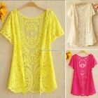 Womens Hollow-Out Retro Blouse Shirt Lace Embroidery Floral Crochet Cardigan New