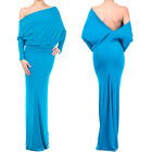 AZURE BLUE MULTI WAY Plunging REVERSIBLE Convertible MAXI DRESS Off Shoulder USA