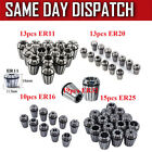 15 PCS ER25 / 13 PCS ER20  ER11 /  10PCS ER16 Precision Spring Collet Set - UK