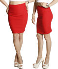 RED SKIRT Solid Suiting skirt Slim High Waisted Pencil Stretch Sleek Work Casual
