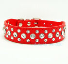 Bling Rhinestone PU Leather Crystal Diamond Pet Dog Cat Puppy Collar Black S-XL