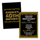 Personalised birthday party invitations 1920'S BLACK GOLD ART DECO FREE ENVELOPE