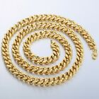 6/7/9MM STAR CURB Link Necklace Mens Boys Chain Gold Filled GF S Hook Clasp