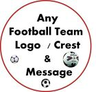"""PERSONALISED ANY FOOTBALL LOGO AND MESSAGE Edible Icing Cake Topper 7.5"""" Round"""