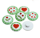 6 Pretty Green & Red design Wood Sewing Buttons 20mm Choose your design bargain