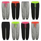 KIDS JOGGING TRACKSUIT BOTTOMS GIRLS BOYS CUFFED FLEECE SWEATPANTS SIZE 5-16Y