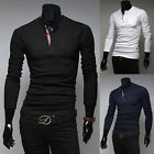 Mens Fashion Slim Fit Casual T-Shirts Cotton Long Sleeve Henley Neck Tee Tops-us