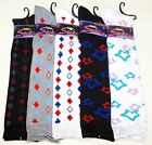 "1 Pair Soft Cute Knee High Girls Diamonds/Stars Socks (15"" high) girls size 1-3"