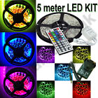 5050 5M RGB SMD LED Strip Light + Power Adapter + 44Key IR Remote Controller UK