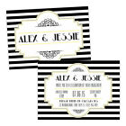 Personalised engagement party invitations BLACK WHITE 1920'S ART DECO FREE ENVEL