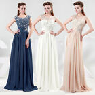 Vintage Long Chiffon Sheer Back Evening Party Prom Ball Gown Bridesmaid Dress 17