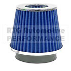 UNIVERSAL CHROME & BLUE CAR AIR FILTER INDUCTION KIT SPORTS MESH CONE