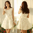 Elegant Women Korean White LACE Short Sleeve Mini Dress Casual Cocktail Dress