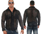 Shirt transparent airy light long sleeve black - all sizes - Made to measure