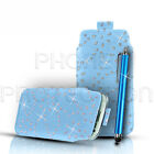 DIAMOND BLING PULL TAB CASE COVER POUCH & STYLUS FOR VARIOUS MOBILE HANDSETS