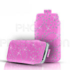 DIAMOND BLING LEATHER PULL TAB CASE COVER POUCH FOR VARIOUS MOBILE HANDSETS