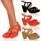 WOMENS SHOES LADIES SANDALS STRAPPY MID HEELS BLOCK SUMMER BUCKLE SLINGBACK SIZE