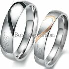 couples rings - Couple Love Heart Stainless Steel Comfort Wedding Band Engagement Promise Ring