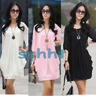1x Fashion Women's Graceful Chiffon Crew Neck Short Sleeve Casual Mini Dress