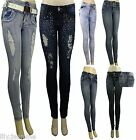 NEW LADIES SKINNY JEANS RIPPED JEGGINGS WOMEN TROUSERS size 4/6/8/10/12/14/16/18