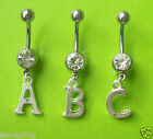 Alphabet Letters Style Clear Crystal Gem Belly Bar Navel Ring Bar Size 10 MM