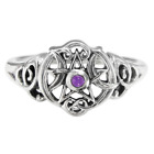 Sterling Silver Heart Wiccan Pentacle Amethyst Ring Dryad Design Wicca Pentagram