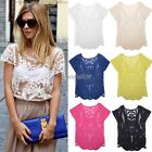 Sexy Women's Semi Sleeve Sheer Embroidery Floral Lace Crochet T-Shirt Top Blouse