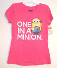 Despicable Me 2 Girls Pink One in a Minion T-Shirt Size Lg 10-12 XLg 14-16 NWT