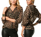 Womens Sexy Loose Leopard Print Button Long Sleeve Chiffon Blouse T-Shirt Tops