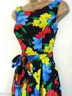 NEW RETRO 50'S TEA DRESS BLACK RED BLUE FLORAL SWING ROCKABILLY SIZE 8 - 18