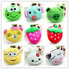 Top cartoon short plush mini zip coin wallet purse Makeup women kids pouch bag W