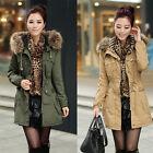 Fashion Lady Military Faux Fur Collar Parka Coat Fleece Trench Hoodies Jacket