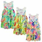GIRLS FLOWER PRINT 3 LAYER DRESS KIDS LACE DIAMANTE NECKLINE PARTY TOP 1-14 YEAR