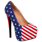 WOMENS LADIES PLATFORM STILETTO AMERICAN FLAG USA CANVAS COURT SHOES PUMPS SIZE